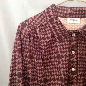 1980s black and brown hounds tooth blouse
